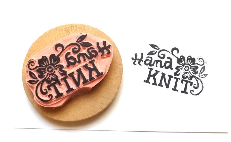 Hand knit rubber stamp knitting labels knitter39s tags for Hand knit labels