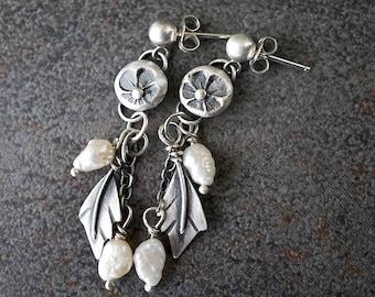 Delicate Sterling Pearl Earrings , Flower Leaf Drop Earrings , Botanical Jewelry
