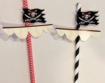 12 Pirate straws with flag toppers