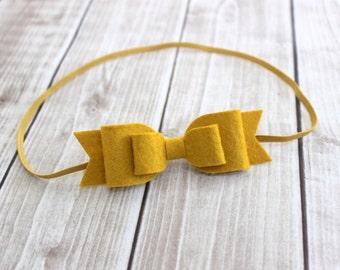 Yellow Felt Headband, Baby Headband, Felt Hair bow, Mustard Felt Bow, Newborn Headband, Baby Girl Headband, Yellow Headband