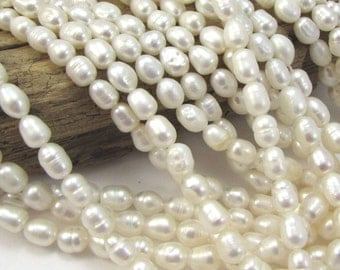 Pearls, White Cultured Freshwater Pearls, 5-6mm Rice Pearls, 16 inch Strand, Beading Supplies, Item 1279ps