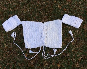 Off The Shoulder Crochet Crop Top, White Crochet Festival Top, White Crochet Lace Up Crop Top, Coachella Top