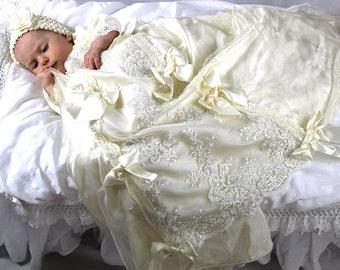 "Christening Gown ""Empress Sissi"" , ivory Baptism Gown, silk Christening dress, girls Baptismal dress"