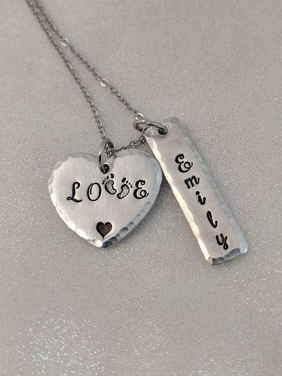 Love Necklace - Footprint Jewelry - Name Jewelry - Mommy Necklace - Child Name Necklace - Grandmother Necklace - Gift for Mom - New Mom Gift