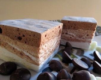 Triple Chocolate Marshmallows - 1 dozen Gourmet homemade marshmallows - white, dark, and milk chocolate