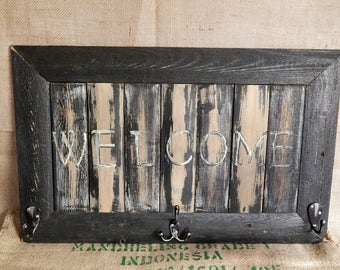 WELCOME Sign Reclaimed Cedar Wood Wall Art Made in the USA Fence Picket