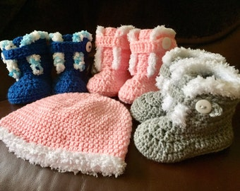 Chunky crochet Ugg style boots and matching hat set  0-3, 3-6, 6-9 and 9-12 months