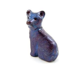 Twilight Bear, Blue and Purple Bear Figurine, Hand Sculpted Miniature, Pocket Bear Totem, Animal Sculpture