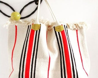 Striped canvas bag