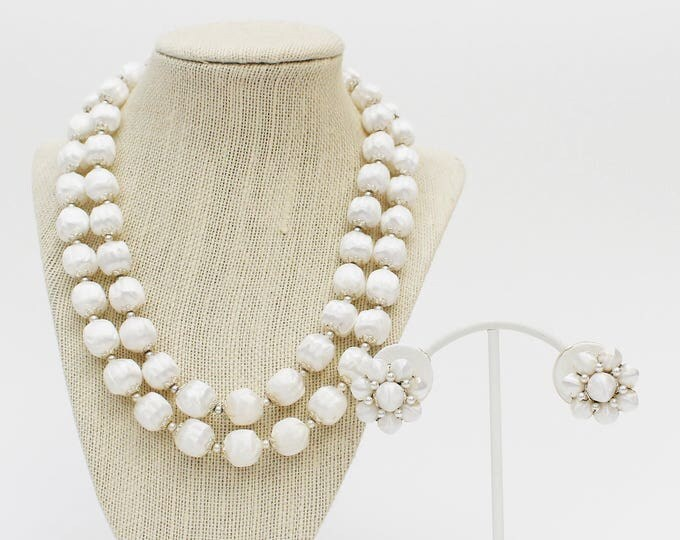 White Beaded Necklace Set - Vintage 1950s Double Strand Beaded Necklace and Clip Earrings