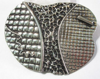 Charmont Belts of Beverly Hills Large Designer Style Belt Buckle Signed Vintage Fashion Runway Statement Textured Artsy