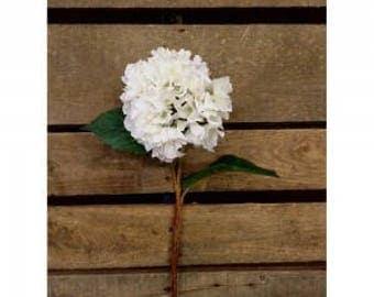 Five (5) 26″ Faux Dried  Farmhouse HYDRANGEA STEMS – WHITE
