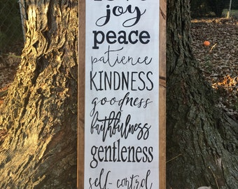 Framed wood sign | fruits of the spirit | galations 5:22-23 | farmhouse decor | handpainted | scritpure | bible verse