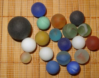 Lot of 18 Beach-Like Glass Marbles / Frosted Marbles / Toy Marbles / Glass Marbles / Game Marbles / Craft Marbles / Lot #100