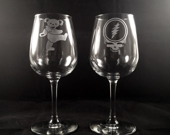 Pair of Grateful Dead Wine Glasses Hand Etched | Steal Your Face, Dancing Bear, Jerry Garcia Hand, 13 Point Lightning Bolt