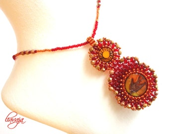Red necklace made of glass beads of red beads pendant threaded Red