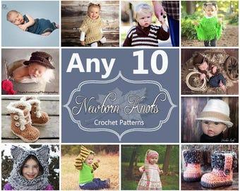 Any 10 Individual  CROCHET PATTERNS from NewbornKnots