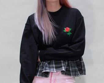 Black Tartan Ruffle Sweater