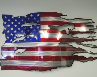 Steel Flag painted by Eric Scarlett, individually Unique, Hand Drawn, Custom Cut Flag. No 2 are ever alike. Quality work and affordable.