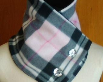 Pink and black plaid fleece scarf, fleece button scarf, double layer fleece neck warmer with button closure, plaid fleece neck warmer/wrap