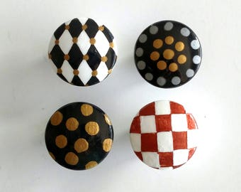 Sale - Metallic Harlequin and Dots Hand Painted Drawer Knobs Set, Ready to Ship, Harlequin Drawer Pulls