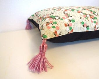 """Cushion cover """" Japanese flowers, black cotton and pink pompons """""""