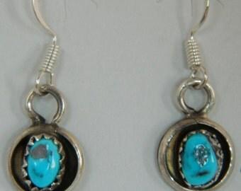 Native American Indian Navajo Turquoise Sterling Silver Handmade Earrings Lenore Garcia