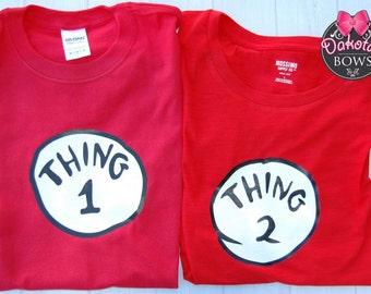 Thing One and Thing Two shirts, Dr. Seiuss shirts, red shirts, Dr. Seuiss Birthday, matching shirts, family shirts, Adult Shirts