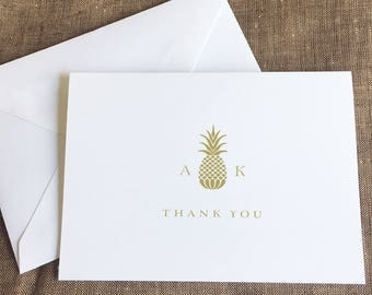 Pineapple Thank You Notes, Pineapple Folded Notes Cards, Hawaiian Wedding Personalized Stationary, Destination Wedding Notes, set of 10