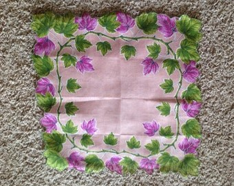 Purple and Green leaf hankie hankerchief