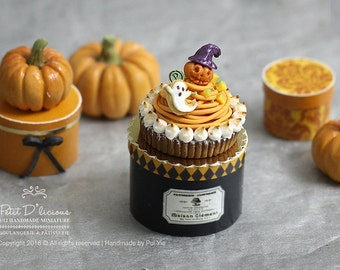 Jack-o-Lantern Pumpkin Mont Blanc Tarte Cake- HALLOWEEN- in 1/12th miniature dollhouse Cake