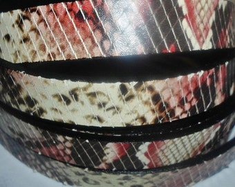 """SALE: 15mm Red Imitation Snakeskin Leather Cord, 8"""", jewelry making supplies, craft,"""