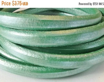 "SALE: PER 8"" Metallic Green Licorice Leather for Licorice Leather Bracelets"