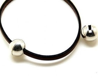 Clasp, Flat leather Magnetic Ball Clasp for Leather, Silver plated Zamak