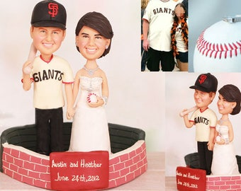 Personalised wedding cake topper - Couple Standing Inside of San Francisco Giants Stadium Cake Toppers (Free shipping)