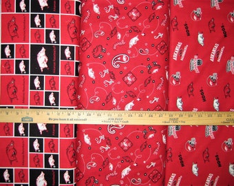 NCAA Arkansas Razorbacks Red & Black College Logo Cotton Fabric, Go Hogs! [Choose Your Cut Size]