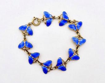 Vintage ENAMEL BUTTERFLY BRACELET Finn Jensen Norway Gilt Sterling Silver Blue Enamel Butterfly Link Bracelet