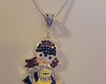 Batgirl Rhinestone Silver Necklace