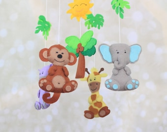Safari mobile baby mobile crib mobile Jungle mobile neutral mobile nature mobile felt African animals nursery mobile Zoo Animals mobile
