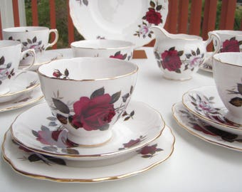Vintage Colclough English Bone China Red and Pink Roses Tea set 1960's