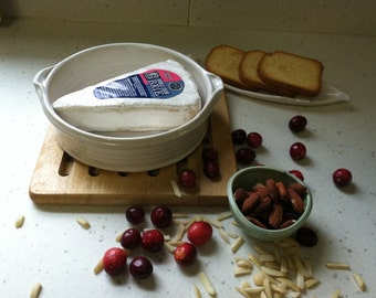 handmade brie baker, white bowls, brie bowls, mini casserole, ceramic bowl, small serving bowl