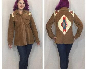 FLASH SALE Vintage 1970's Suede Jacket with Chimayo Weave Detail