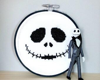 Jack nightmare before christmas tim burton Cross stitch embroidery hoop