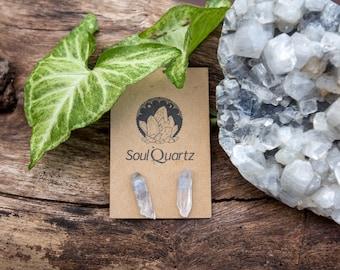 Clear Quartz Raw Crystal Earring Studs