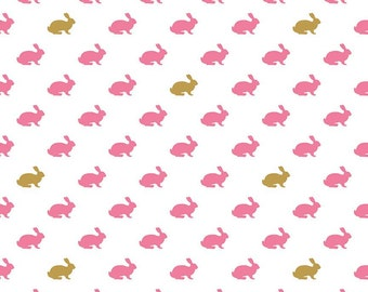 SALE - Easter Bunny Fabric - Riley Blake - Wonderland by Melissa Mortensen.  Pink Rabbit with Sparkle Gold Metallic - 100% cotton - SC5182