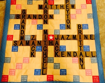 Scrabble quilt with names of kids or grandkids dogs, etc