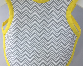 Bib for infants up to 18 months.  Designer cotton fabric with chevron minky backing.
