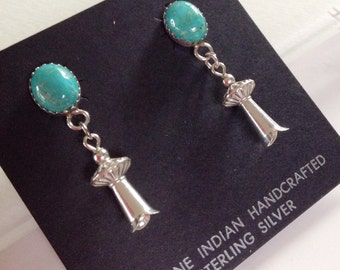 Native American Navajo Turquoise Sterling Silver Squash Blossom Post Earrings