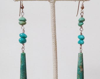Navajo Blue & Green Turquoise Sterling Silver Native American Long Dangle Earrings