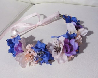 violet silk flower crown